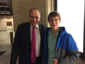 Aaron with President Obama's political consultant David Axelrod