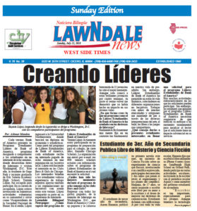 Lawndale News Newspaper, Page 1 story on The King's Pawn published July 19, 2018 in English.