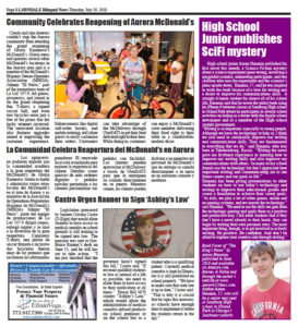 Lawndale News Newspaper, Page 8 story in English on The King's Pawn published July 19, 2018 in English.