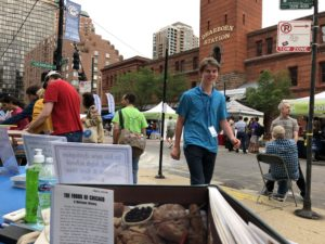 Aaron chil-laxing at the 39th Annual Printers Row Literature Fest. Photo courtesy Ray Hanania